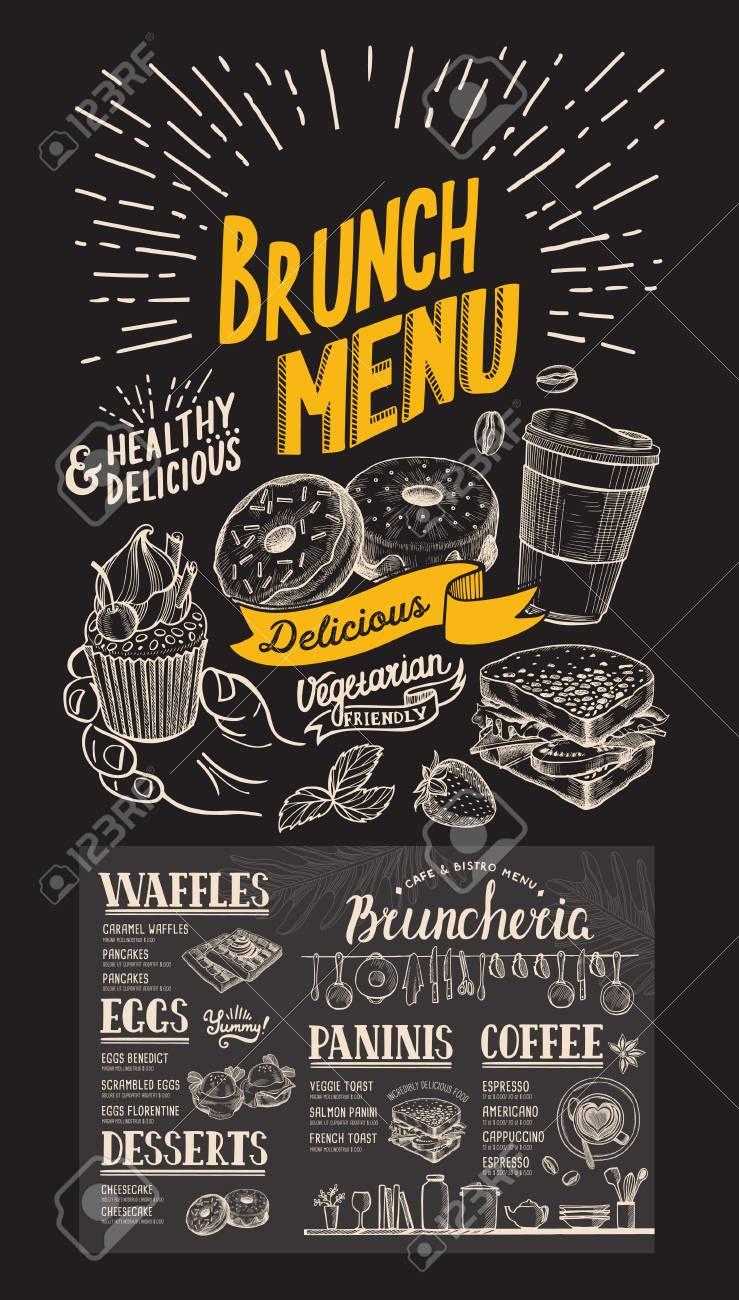 Brunch restaurant menu on chalkboard background. Vector food flyer for bar and cafe. Design template with vintage hand-drawn illustrations. - 105867996