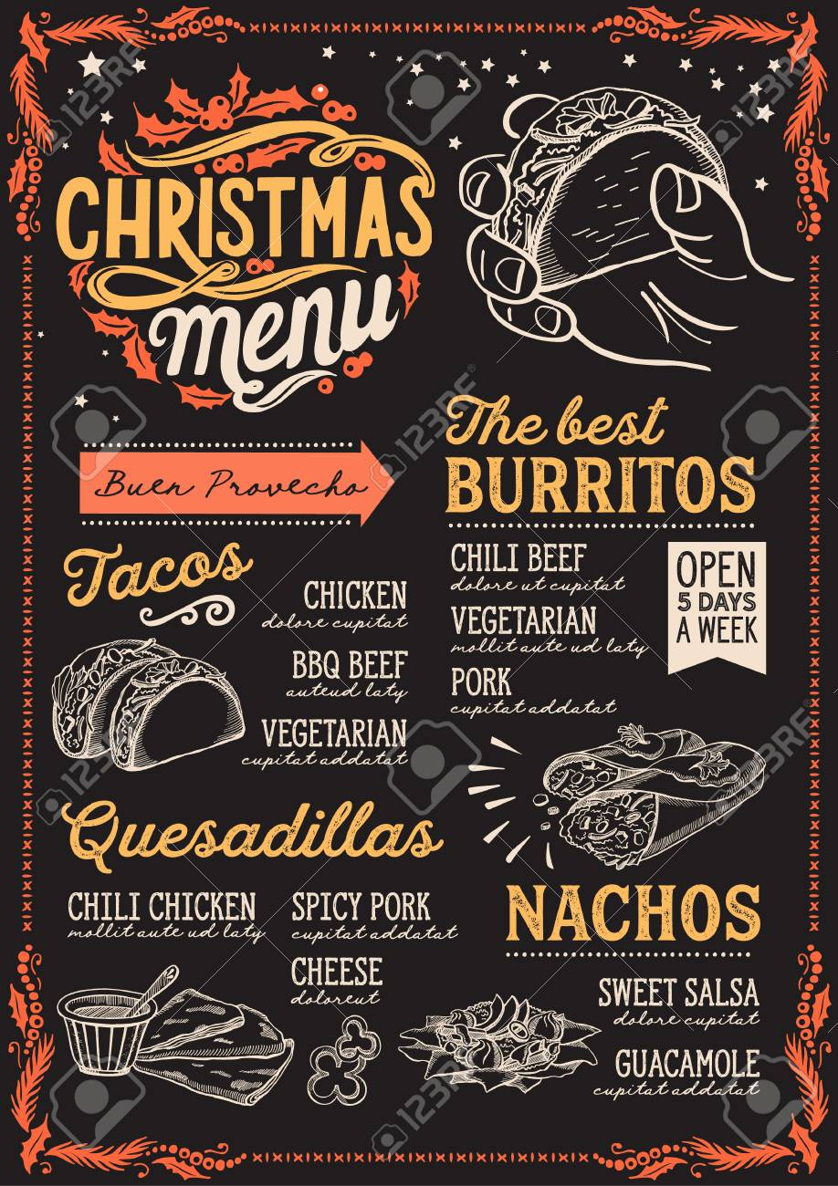 Christmas Restaurant Poster.Christmas Menu Template For Mexican Restaurant And Cafe On A