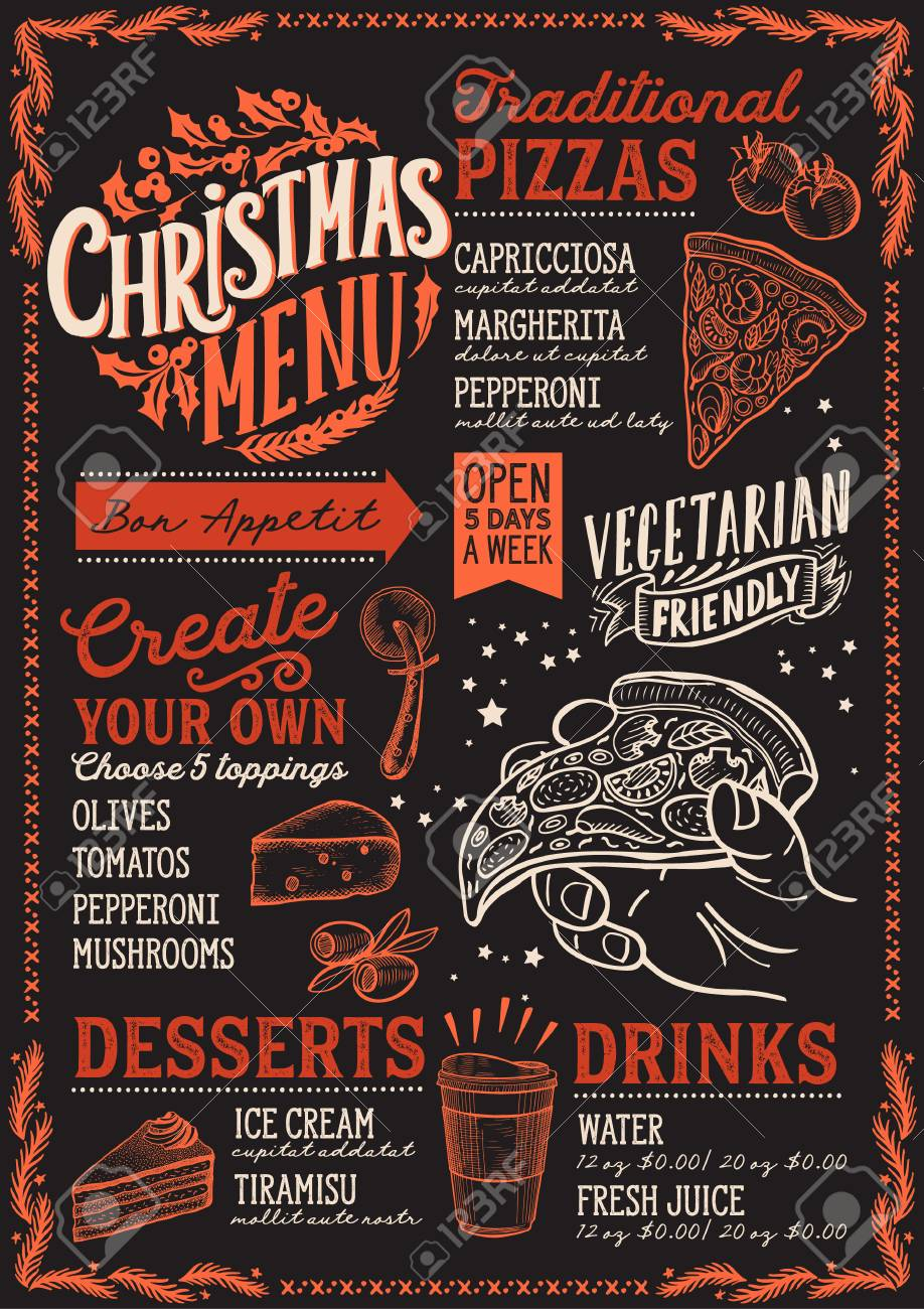 Pizza Open On Christmas.Christmas Menu Template For Pizza Restaurant And Cafe On A Blackboard