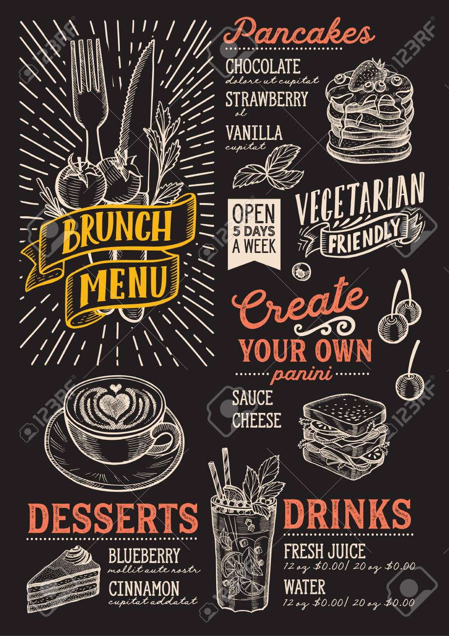 brunch menu template for restaurant on a blackboard background