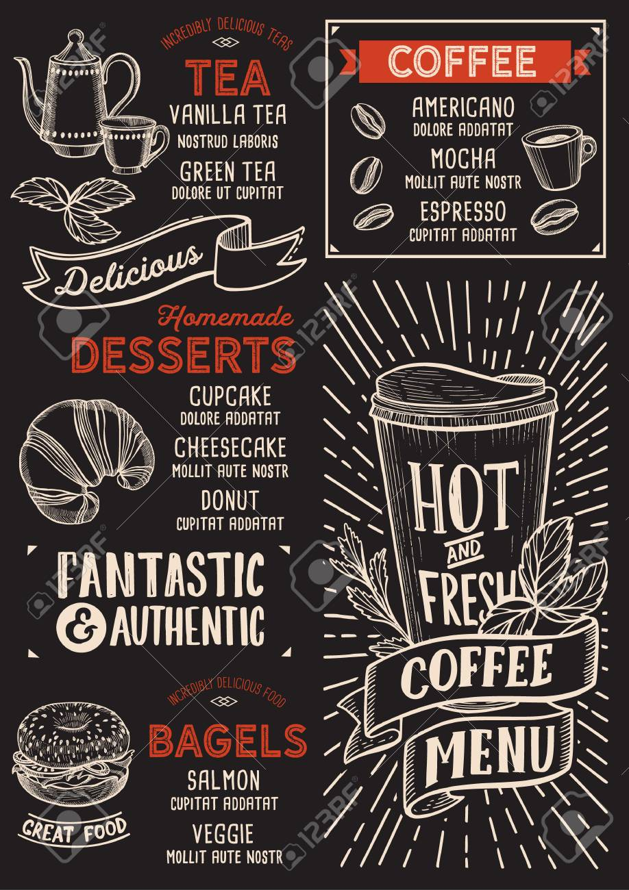 coffee menu template for restaurant on a blackboard background
