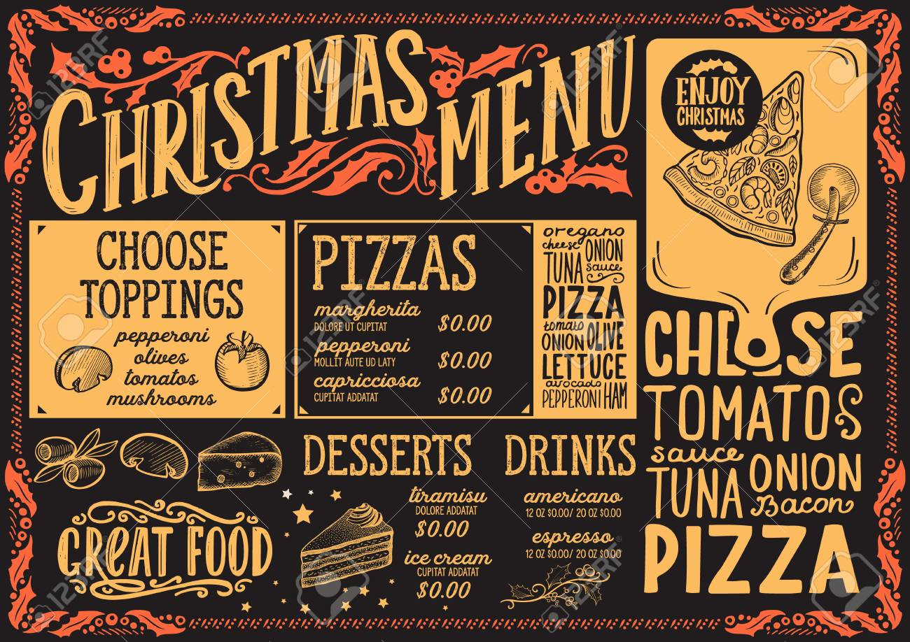 Pizza Places Open On Christmas.Christmas Menu Template For Pizza Restaurant And Cafe On A Blackboard