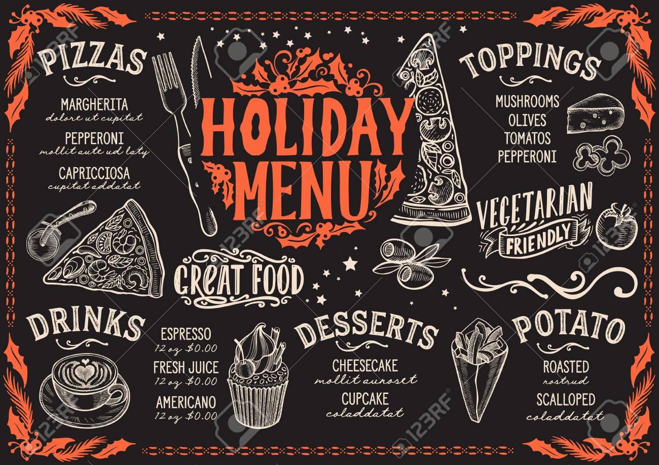 Christmas Restaurant Poster.Christmas Menu Template For Pizza Restaurant On A Blackboard