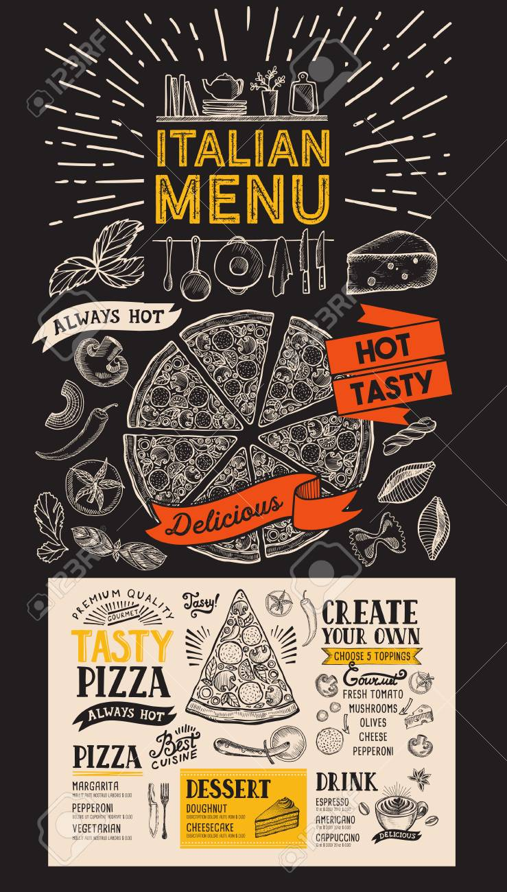 Pizza Menu For Italian Restaurant Vector Food Flyer For Bar Royalty Free Cliparts Vectors And Stock Illustration Image 110312324