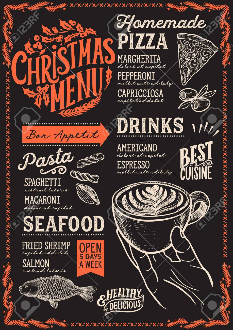 Christmas Restaurant Poster.Christmas Menu Template For Restaurant And Cafe On A Blackboard