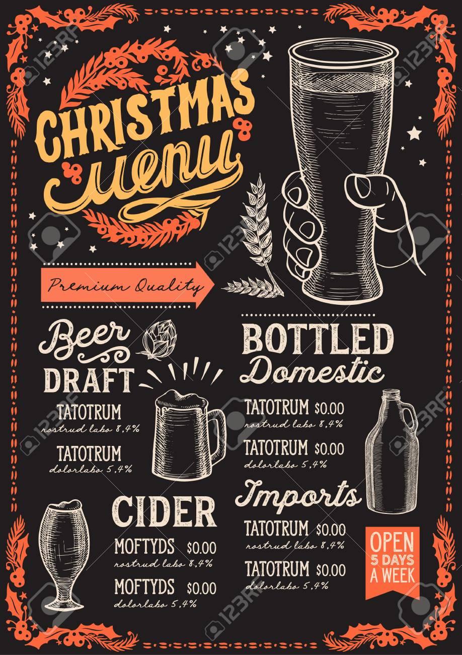 Christmas Restaurant Poster.Christmas Menu Template For Beer Restaurant And Bar On A Blackboard