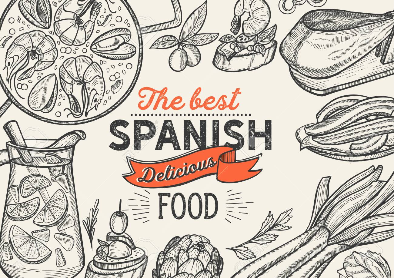 Spanish cuisine illustrations - tapas, paella, sangria, jam—n, churros, calcots, turron for restaurant. Vector hand drawn poster for catalan cafe and bar. Design with lettering and doodle vintage graphic. - 124189906