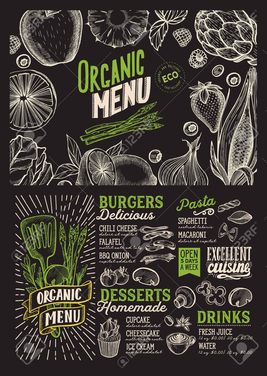 Organic Menu Template For Vegetarian Restaurant On A Blackboard Royalty Free Cliparts Vectors And Stock Illustration Image 130815895