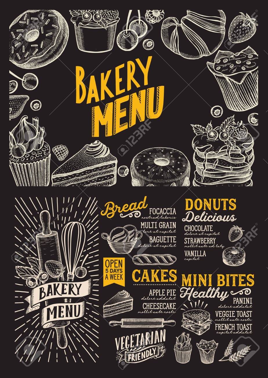 Bakery menu template for restaurant on a blackboard background vector illustration brochure for food and drink cafe. Design layout with vintage lettering and doodle hand-drawn graphic. - 130815897