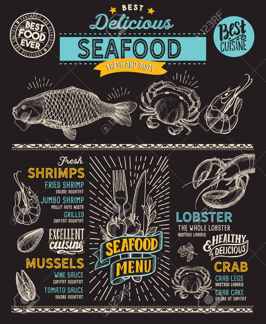 Seafood Menu Template For Restaurant On A Blackboard Background Royalty Free Cliparts Vectors And Stock Illustration Image 130815899