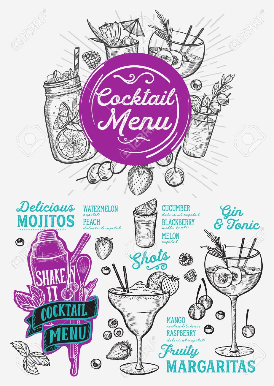 Cocktail Menu Template For Restaurant Illustration Brochure For Royalty Free Cliparts Vectors And Stock Illustration Image 131313462