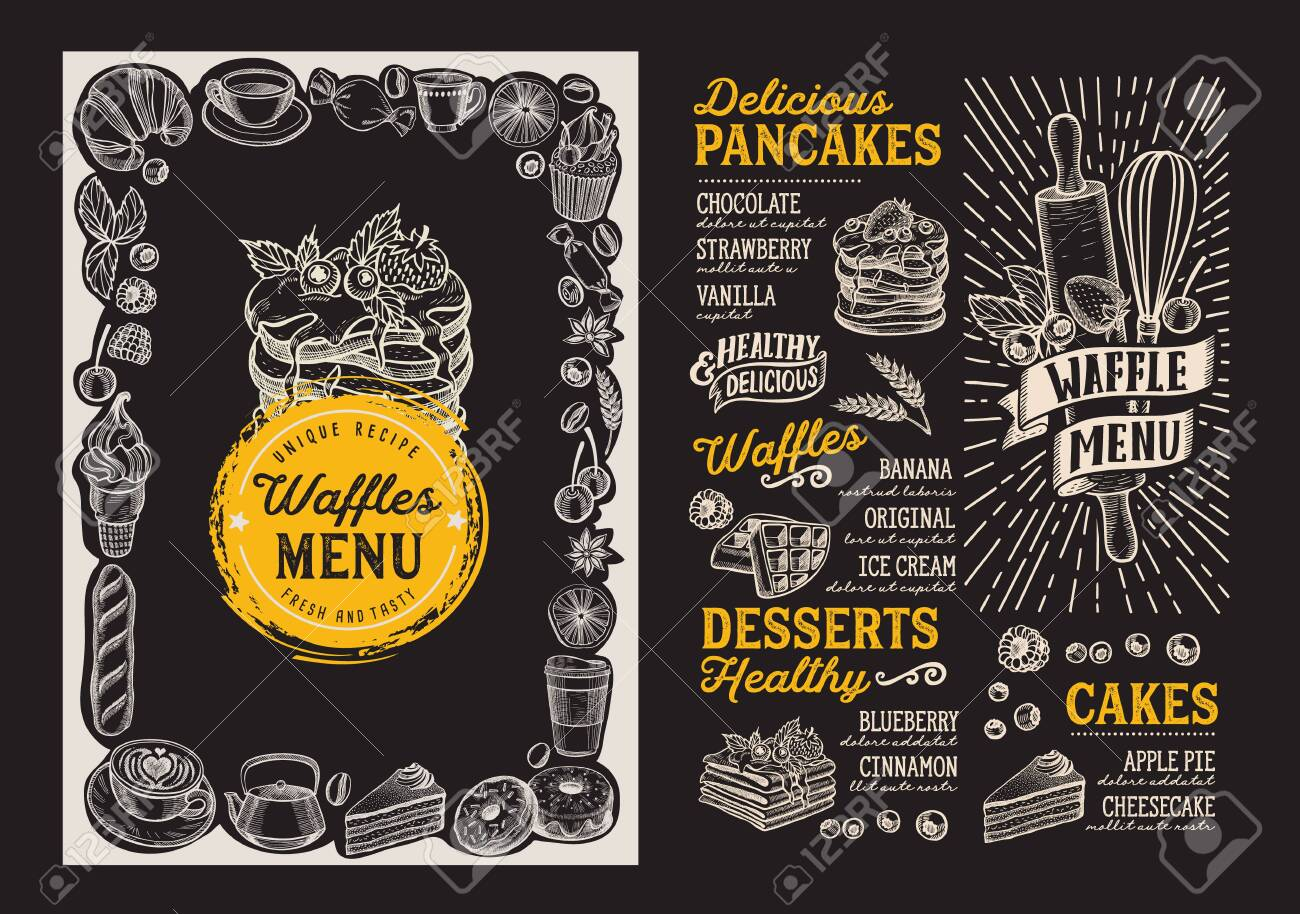 Waffle And Pancake Menu Template For Restaurant On Background Royalty Free Cliparts Vectors And Stock Illustration Image 131316207