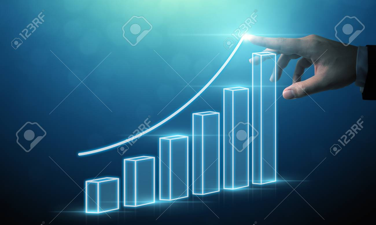 Business development to success and growing growth concept, Businessman pointing arrow graph corporate future growth plan - 120892638