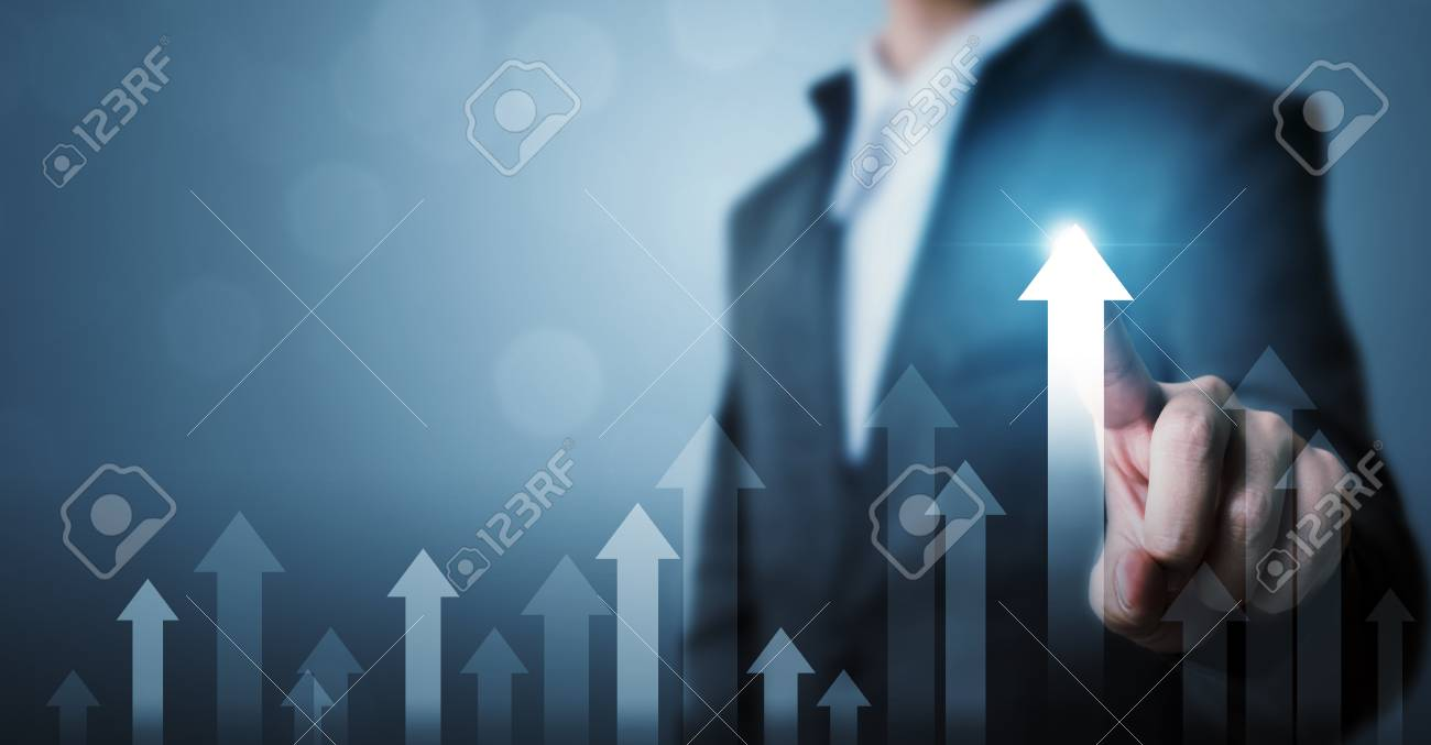 Business development to success and growing growth concept. Businessman pointing arrow graph corporate future growth plan - 126131749