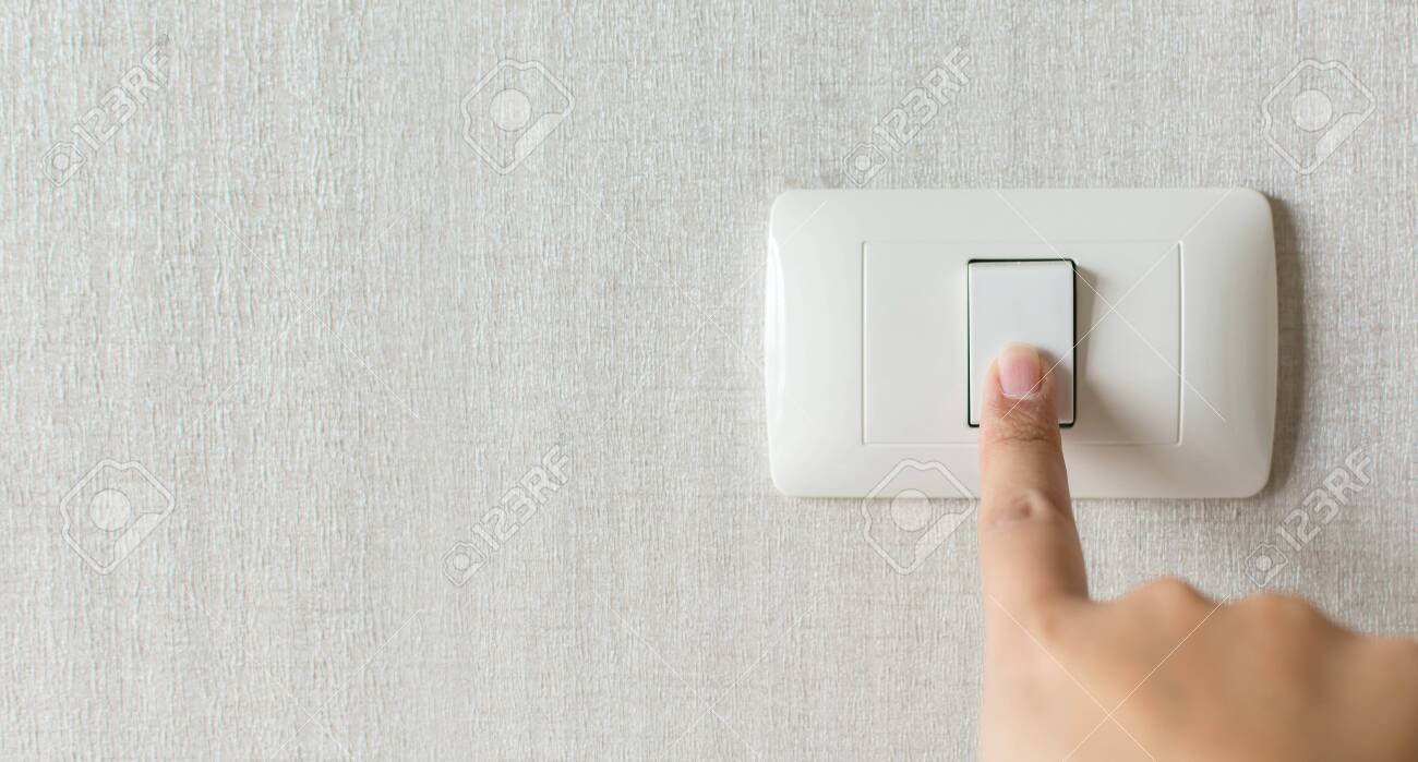 Concept save energy. Hand turning off switch - 130929029