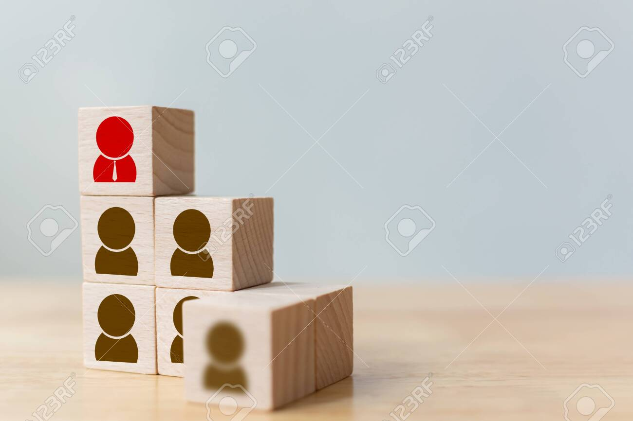 Human resource and talent management and recruitment business concept, Wooden cube block on top staircase - 144597637