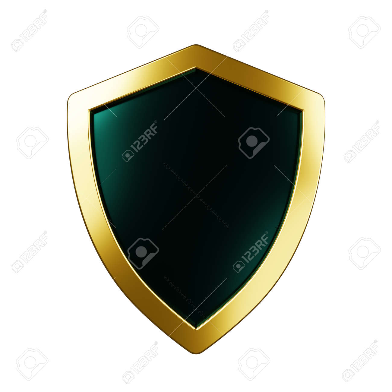 Protected guard shield concept. Safety badge color icon. Security label. Defense safeguard sign. 3d illustration - 173375729