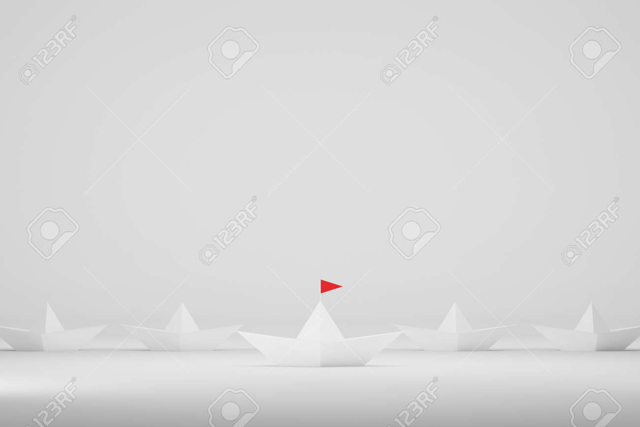Leadership concept. Paper ship with red flag center among white on white background. 3d illustration - 173439429