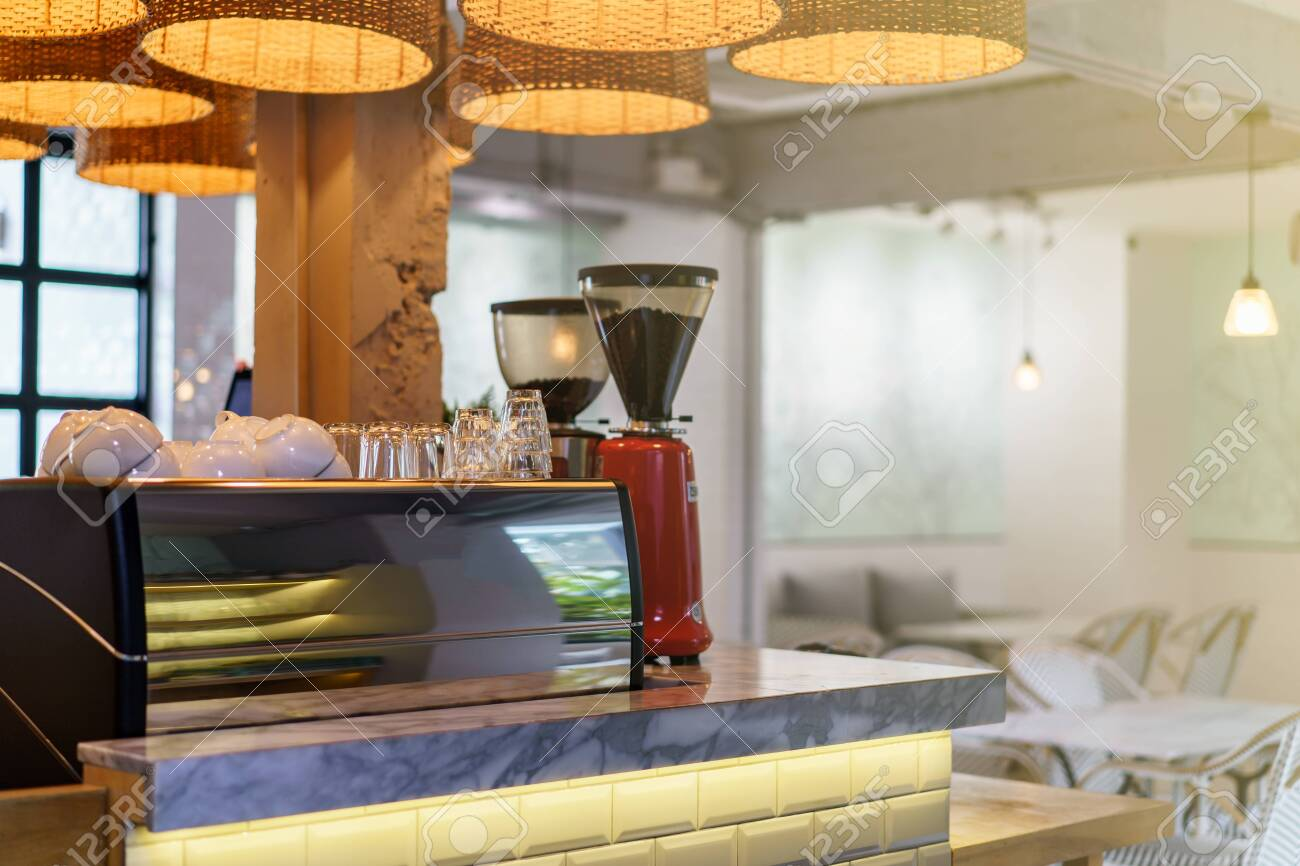 Coffee Shop Bar Counter Coffee Machine Cafe Restaurant Decoration Stock Photo Picture And Royalty Free Image Image 150365437