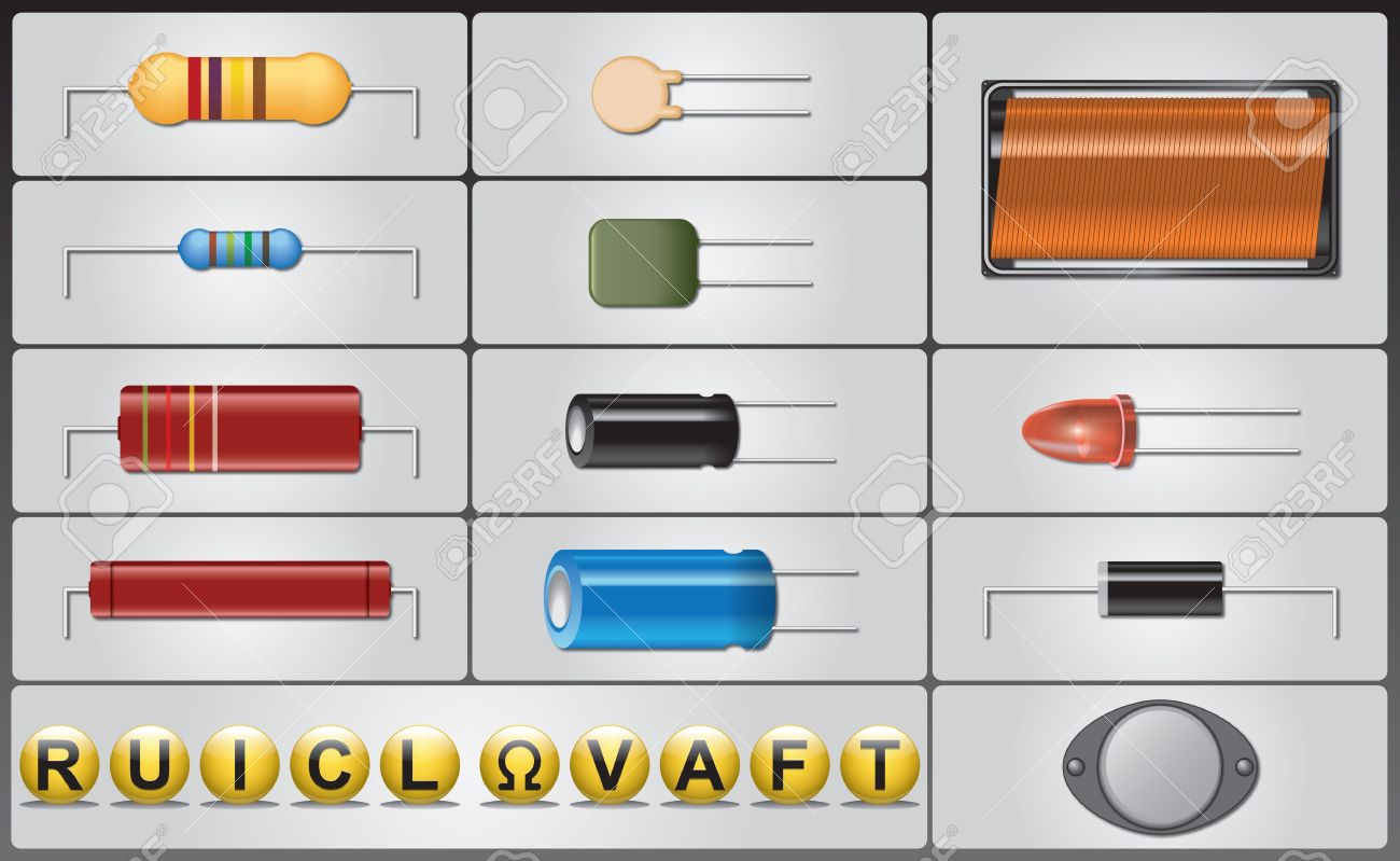 Colorful Circuit Components Symbols Photo - Everything You Need to ...