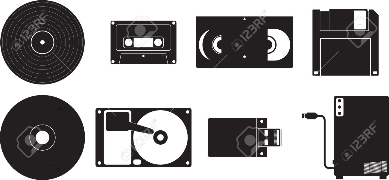 Icon Set Showing Different Kinds Of Devices Used For Storing ...