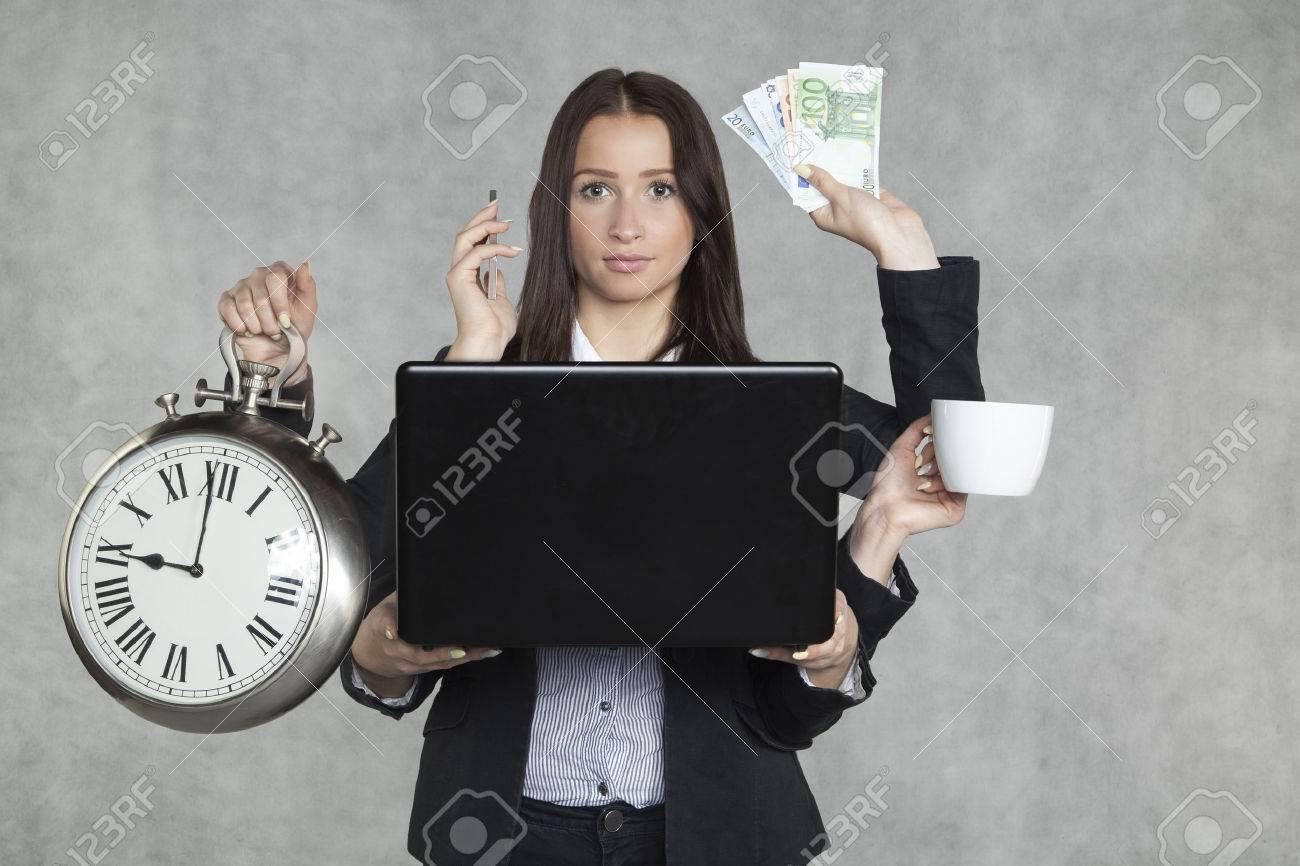 businesswoman is very multitasking - 35333546