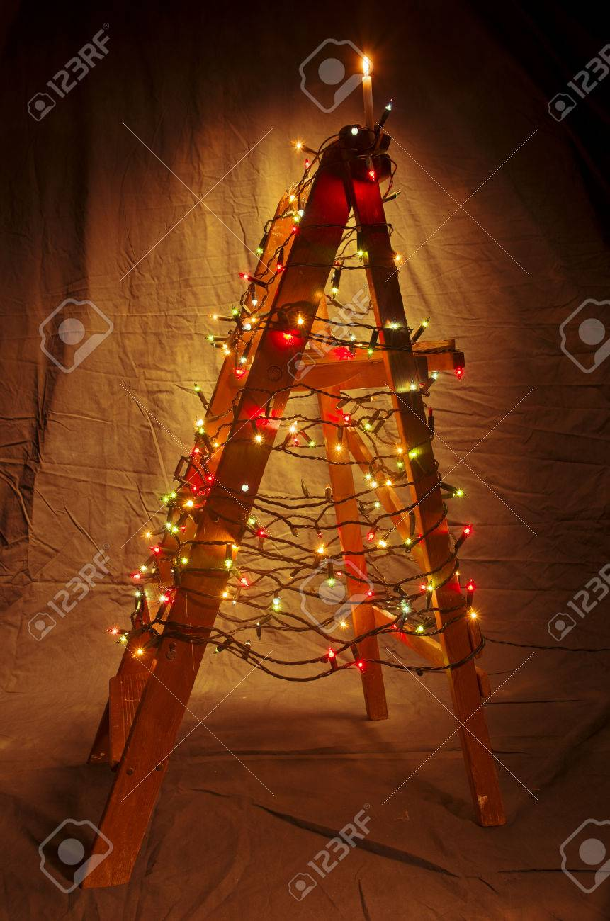 The Wooden Ladder Decorated With Christmas Lights The Shape