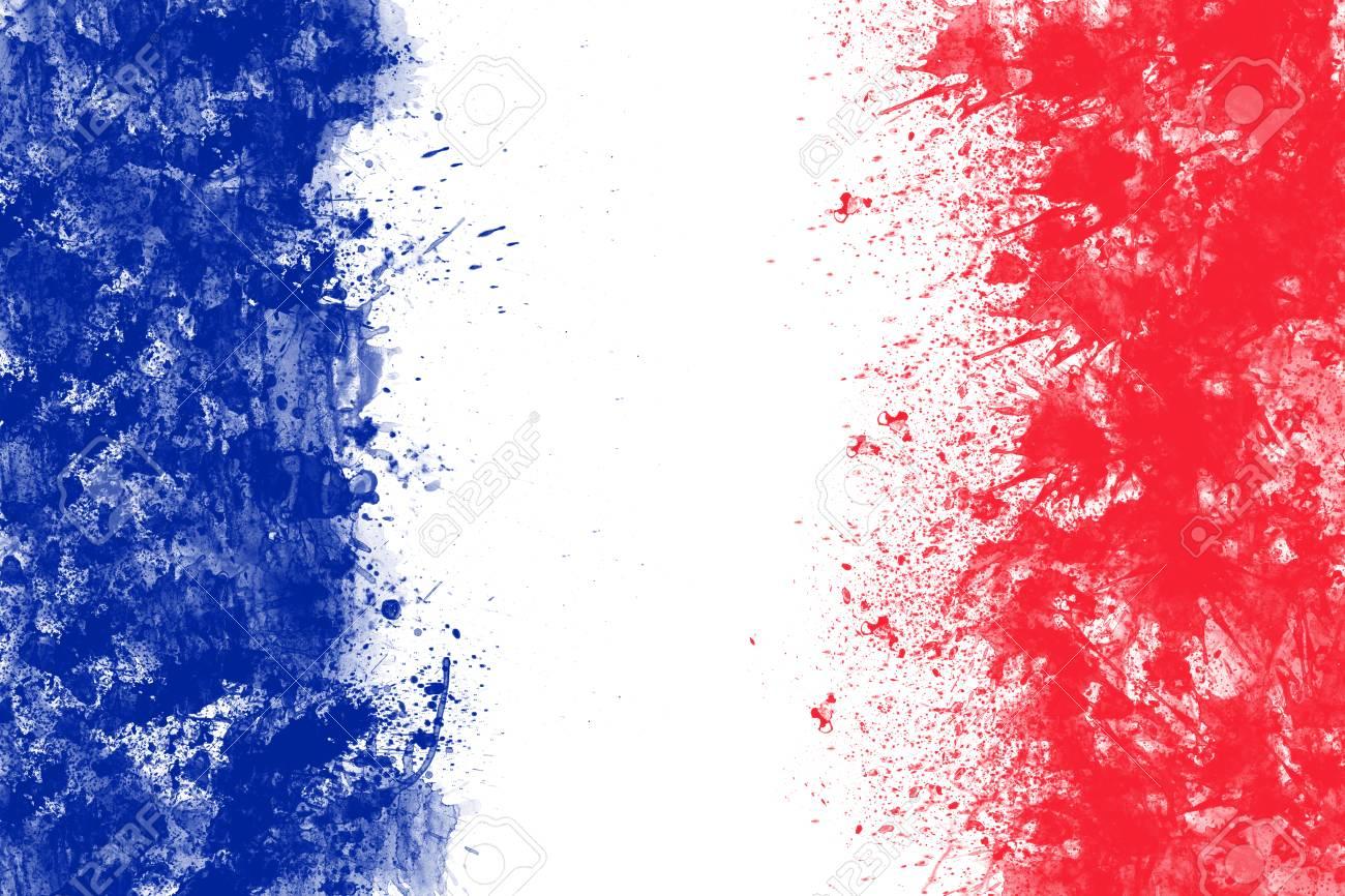 Die Französische Flagge, Die Vom Spritzen Geschaffen Wird, Färbt ...