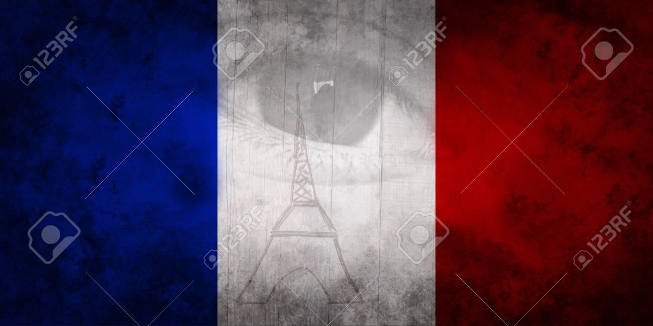 Ojo Humano Y París Torre Eiffel En Colores De La Bandera Francesa ...