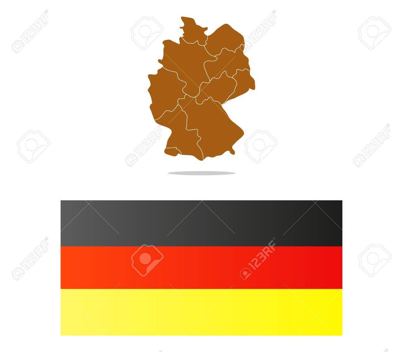 Duitsland Kaart Geillustreerd Met Regio S Royalty Vrije Foto
