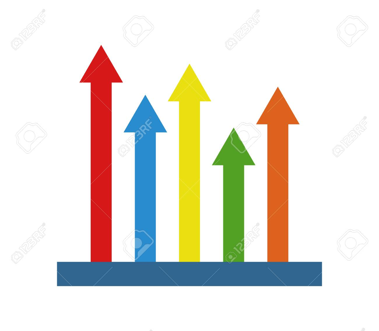 analytic colored arrow pointing up icon royalty free cliparts
