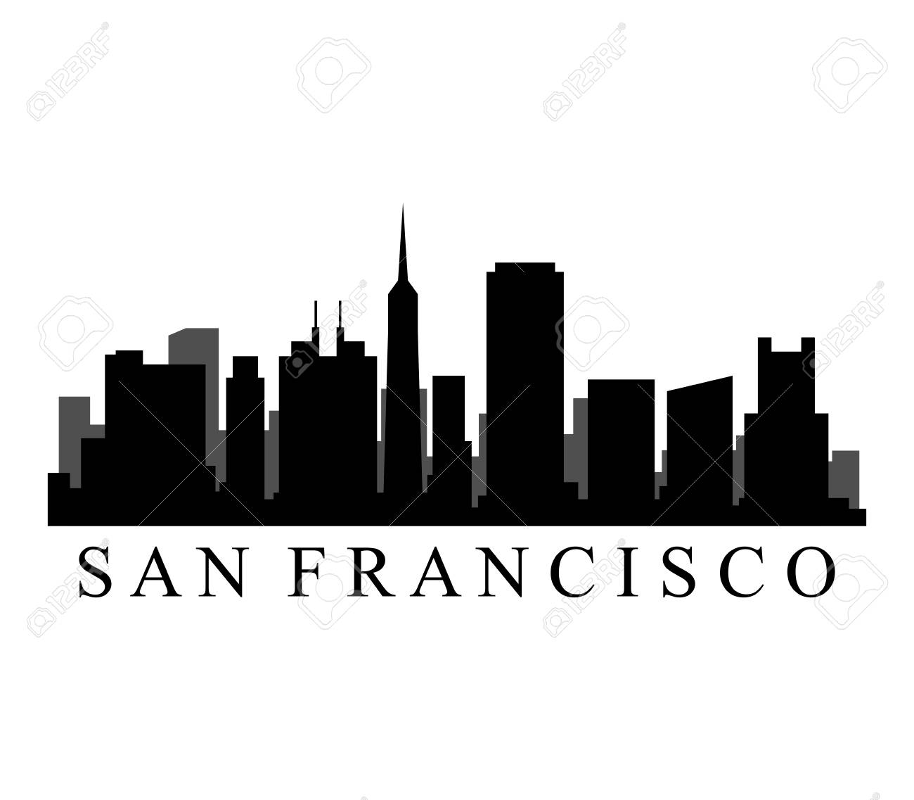 san francisco skyline royalty free cliparts vectors and stock rh 123rf com  san francisco skyline silhouette vector free