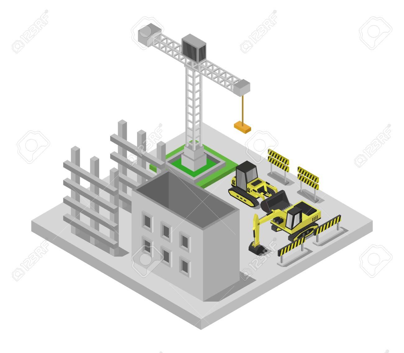 build isometric building - 154103672
