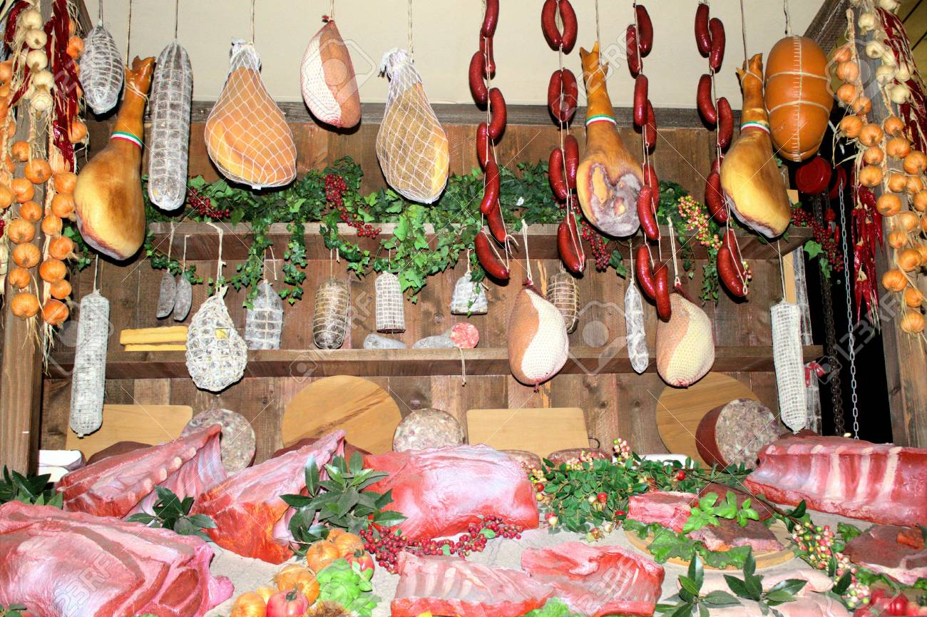 Raw Meat At The Butcher's Shop Stock Photo, Picture And Royalty Free Image.  Image 48521998.