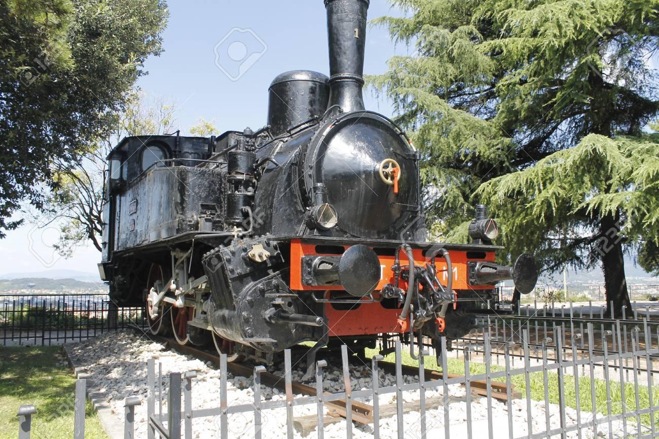 Brescia, Italy, Castle of Brescia, the steam engine of 1908,