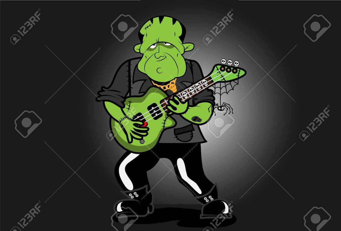 Frankenstein plays an electric guitar with skulls, spiders and web  He has various scars and a skull tattoo Stock Vector - 16576099