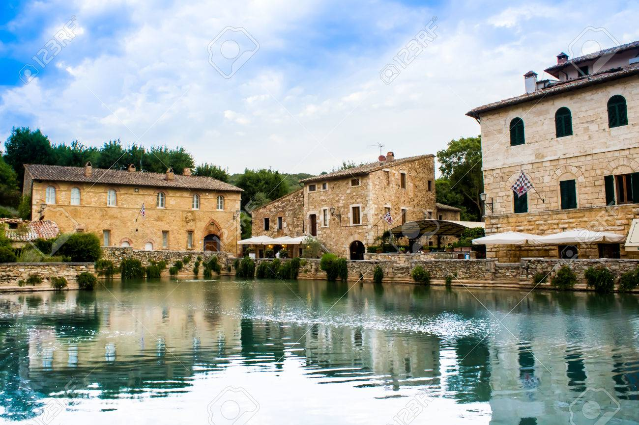 stock photo the square of sources in bagno vignoni a rectangular tank of 16th century origin which contains the original source of water that comes