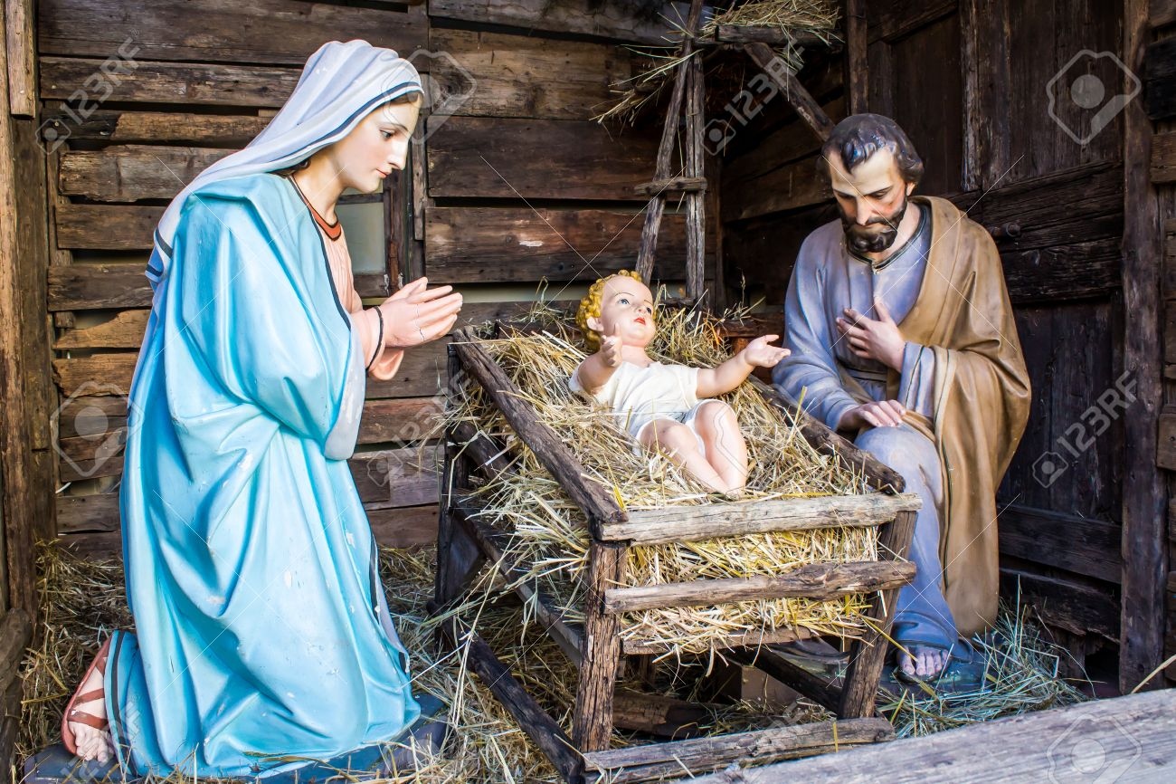 christmas nativity scene represented with statuettes of mary