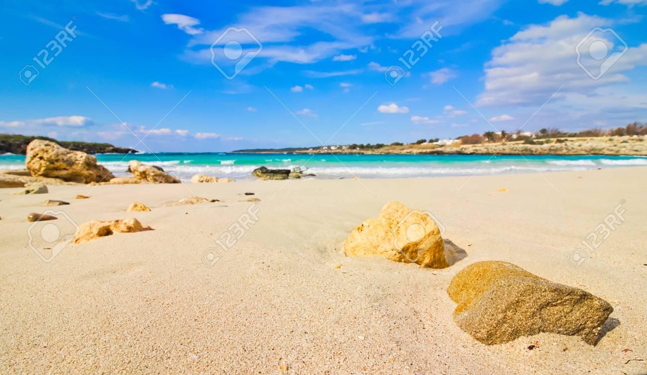 Sandy Beach Close Up Rocks Sea Horizon Stock Photo Picture And Royalty Free Image Image 96098096 Rocks stones horizon coast sand sea