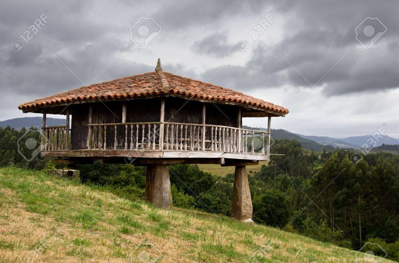 Traditional Construction traditional construction in asturias, spain stock photo, picture