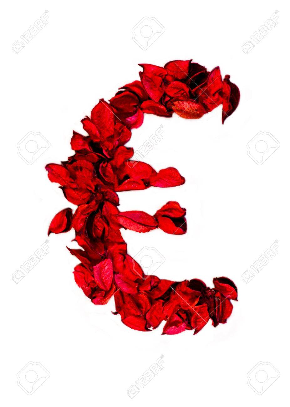 euro sign made with flower petals Stock Photo - 16726443