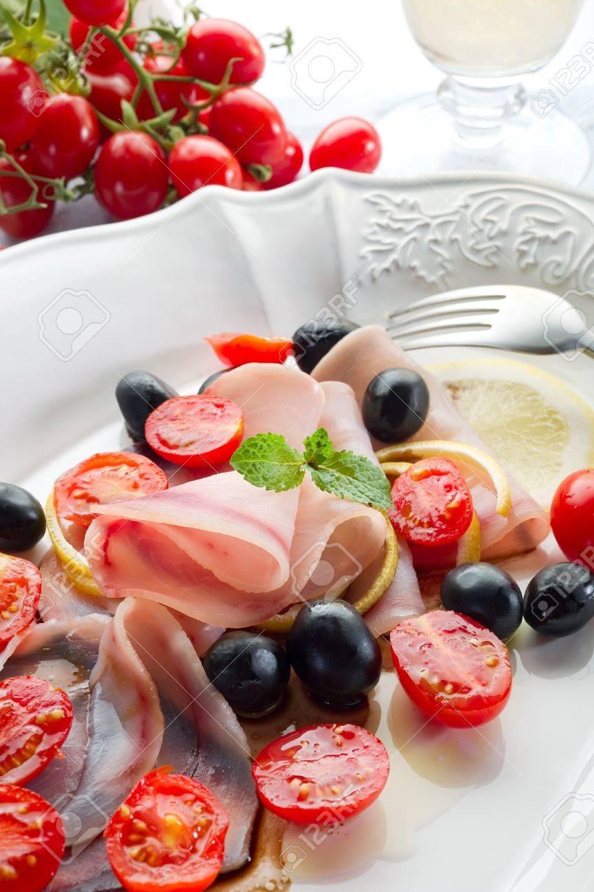 swordfish carpaccio with sliced tomatoes Stock Photo - 10243165