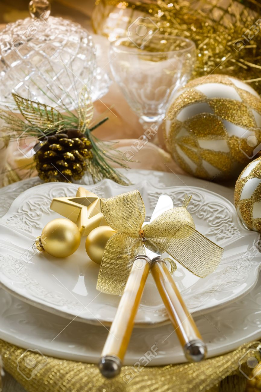 Christmas table decorations gold - Stock Photo Gold Xmas Table With Decorations
