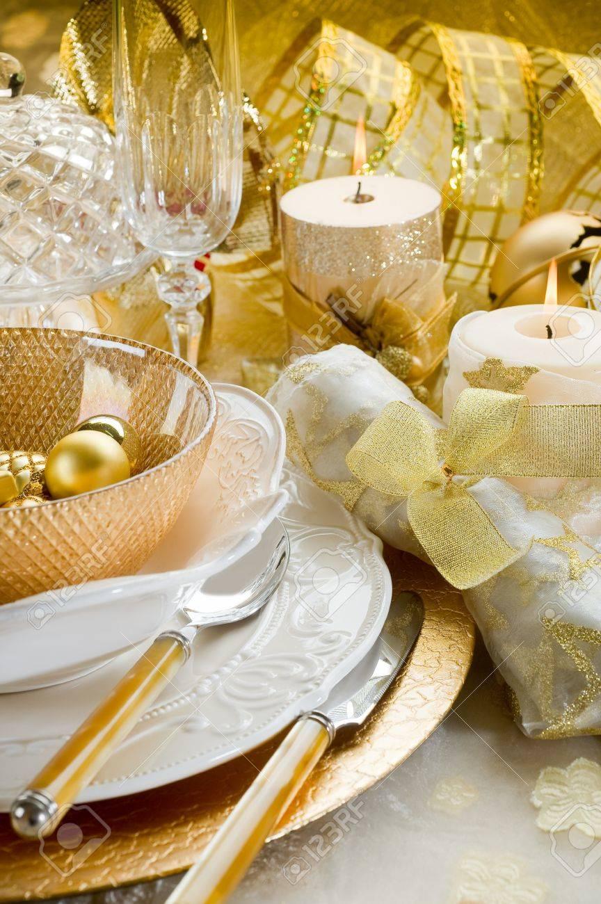 luxury gold xmas table Stock Photo - 10403501