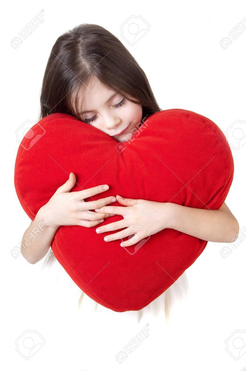 little girl with red heart Stock Photo - 11727423