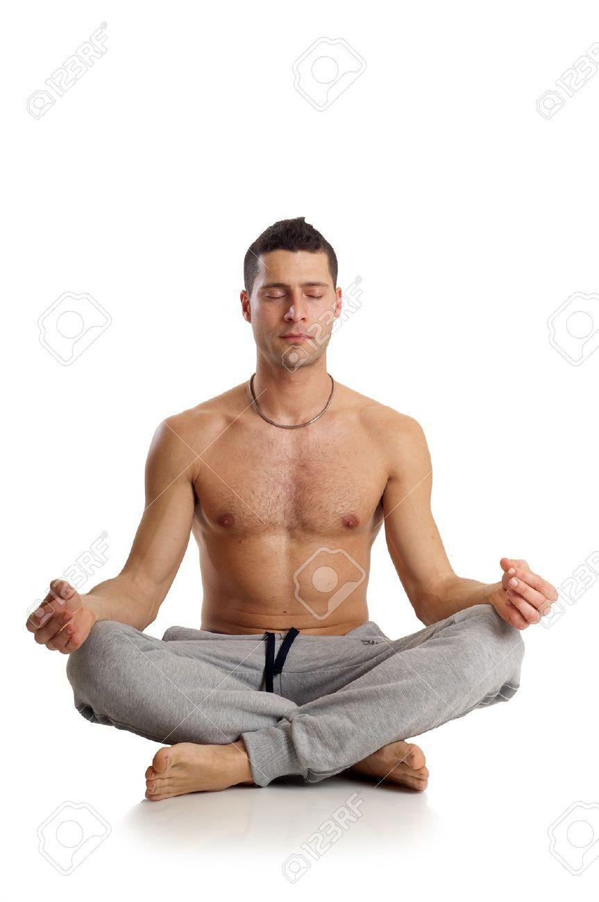 Man On Yoga Position Stock Photo