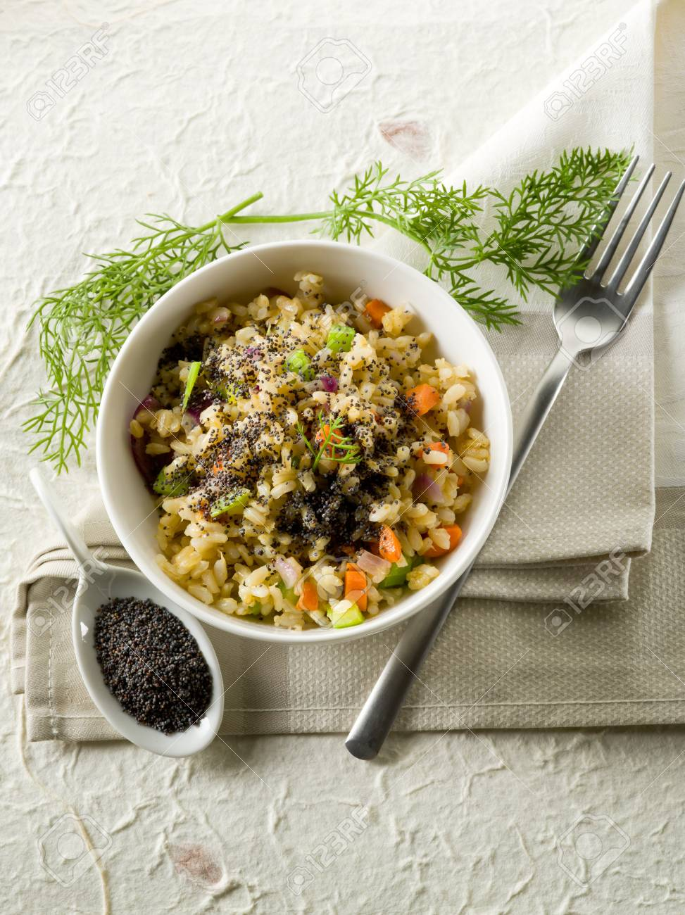 risotto with poppy seed and carrots,healthy food Stock Photo - 13148970
