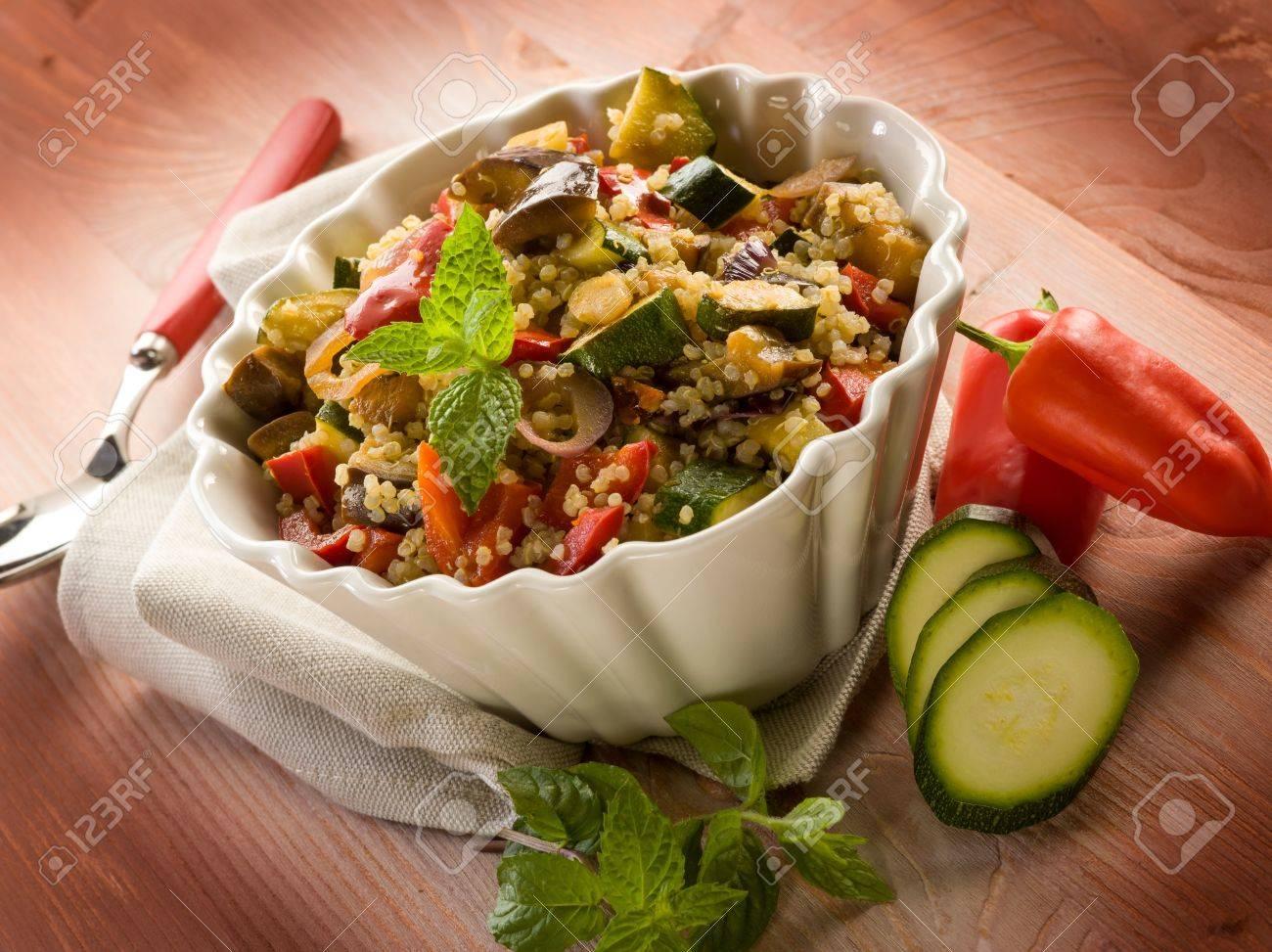 quinoa sald with vegetables, vegetarian food Stock Photo - 14451619