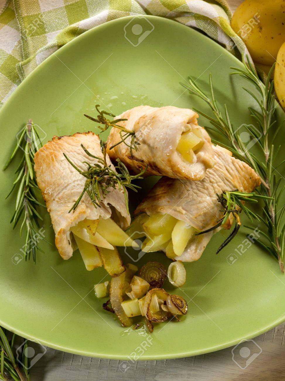 chicken stuffed with fried potatoes Stock Photo - 17149540