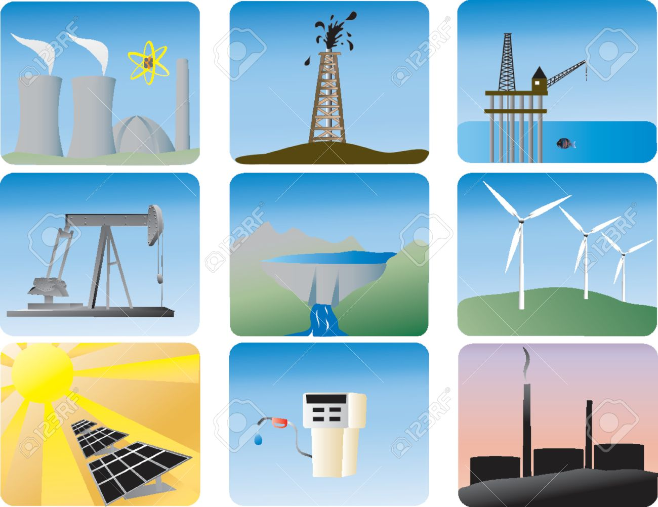 energy icons of various ways Water Energy Clipart